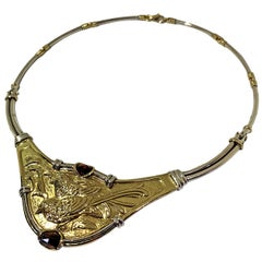 Etruscan Revival Necklace Handmade Ceseled 18 Karat Yellow Gold