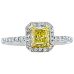 GIA Certified 0.72 Carat Radiant Cut Fancy Intense Yellow Diamond Cocktail Ring