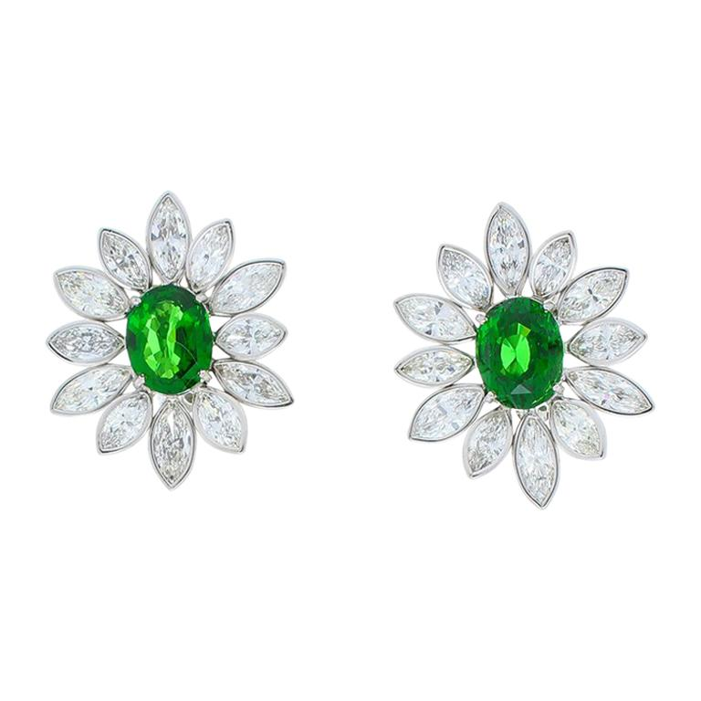 5 10 Carat Total Tsavorite And Marquise Diamond Earring In 18 Karat White Gold