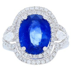 5.34 Carat Total Oval Sapphire and Diamond Cocktail Ring in 18 Karat White Gold