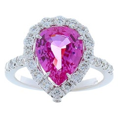 3.01 Carat Pear Shape Pink Sapphire and Diamond Cocktail Ring in 18 Karat Gold