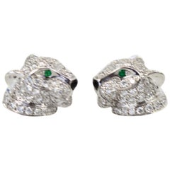 Cartier Diamond Stud Panthere Earrings 18 Karat