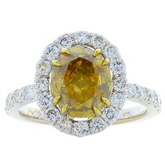 HRD Certified 3.02 Carat Oval Fancy Intense Olive Brown Diamond Cocktail Ring