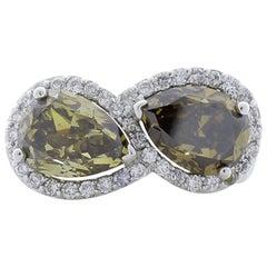 4.25 Carat Total Pear Shape Cognac Brown Diamond Ring in 18 Karat White Gold