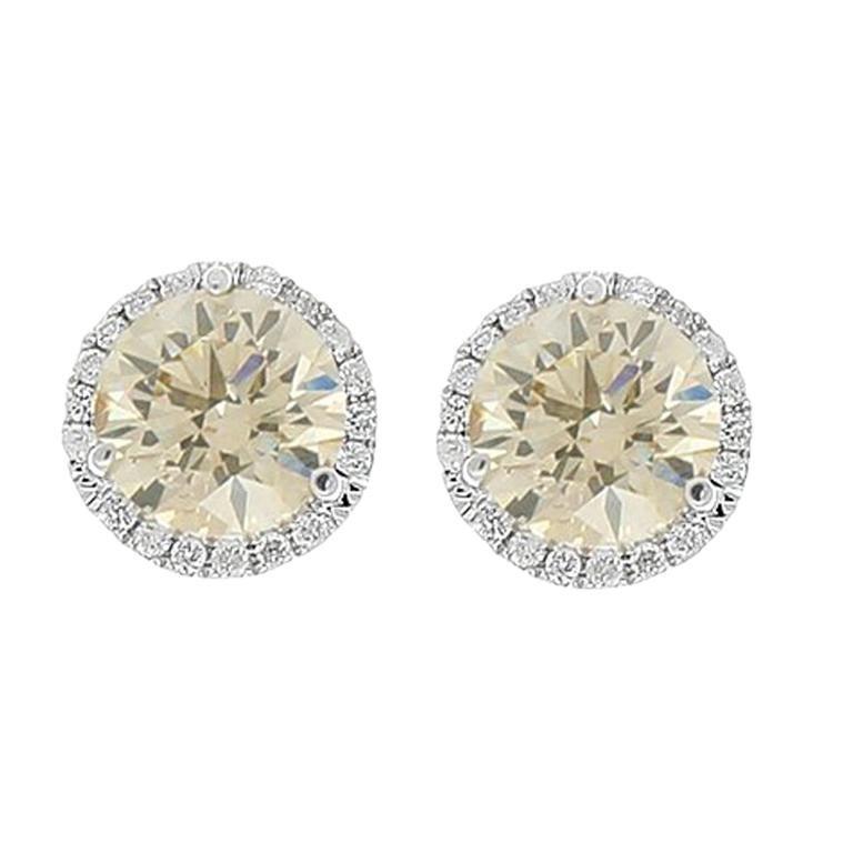 2 01 Carat Total Brown Diamond Stud Earrings In 18 Karat White Gold