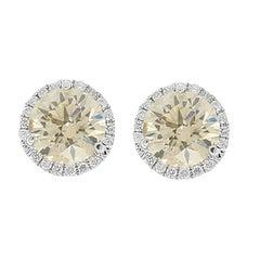 2.01 Carat Total Brown Diamond Stud Earrings in 18 Karat White Gold