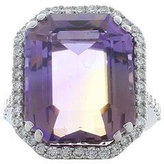 16.37 Carat Ametrine and Diamond Cocktail Ring in 18 Karat White Gold
