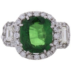 5.01 Carat Cushion Tsavorite and Diamond Cocktail Ring in 18 Karat White Gold