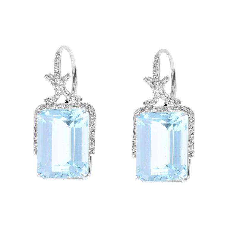 33.45 Carat Emerald Cut Aquamarine and Diamond Earrings in 18 Karat White Gold