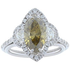 2.13 Carat Fancy Yellow Marquise Diamond Cocktail Ring in 18 Karat White Gold