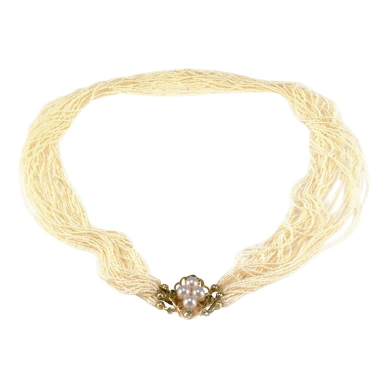 Multi-Strand Pearl Necklace with Emerald Accents in 14 Karat Yellow Gold