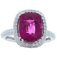 2.98 Carat Cushion Rubellite and Diamond Cocktail Ring in 18 Karat White Gold