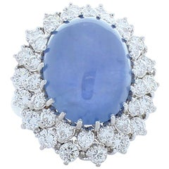 20.00 Carat Blue Cabochon Sapphire and Diamond Cocktail Ring in 18 Karat Gold