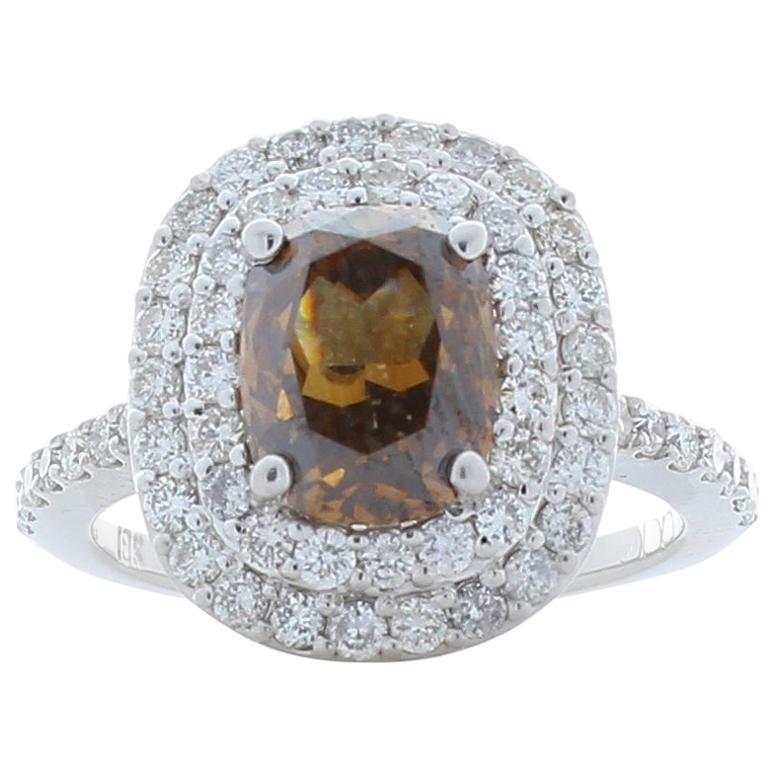 GIA Certified 2.11 Carat Cushion Cut Brown Diamond Cocktail Ring in White Gold