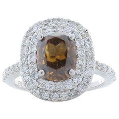 GIA Certified 2.11 Carat Cushion Cut Brown Diamond Cocktail Ring in White Gold