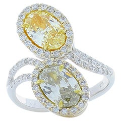 GIA Certified 2.09 Carat Total Oval Fancy Light Yellow and Gray Diamond Ring