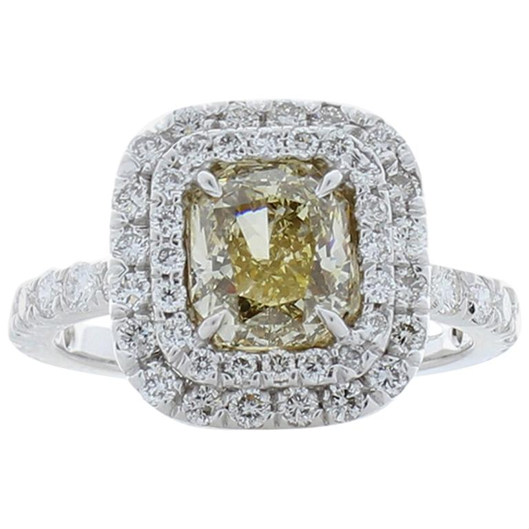 GIA Certified 1.53 Carat Radiant Cut Fancy Brownish Yellow Diamond Cocktail Ring