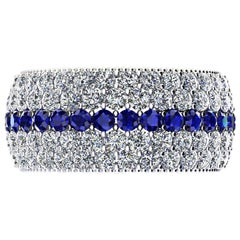 3.40 Carat Diamond 1.00 Carat Blue Sapphires Wide 18 Karat Gold Band