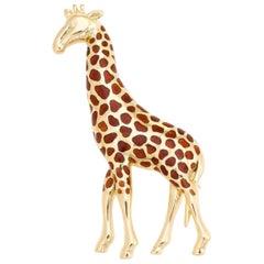 Vintage Giraffe Brooch 18 Karat Gold Pin Animal Jewelry Estate Fine Enamel