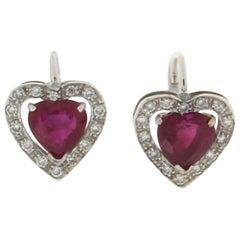 Ruby Hearts, 18 Karat White Gold, Drop Earrings