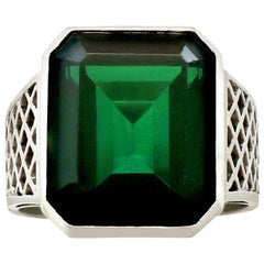 1940s 10.94 Carat Tourmaline and White Gold Dress Ring