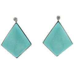 Turquoise, 18 Karat White Gold, Drop Earrings