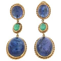 66.38 Karat Tanzanite 18 Karat Yellow Gold Emeralds Drop Earrings