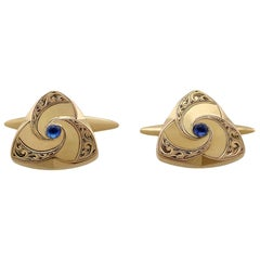 1900s Antique German Sapphire and Yellow Gold Cufflinks