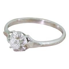Art Deco 0.20 Carat Old Cut Diamond Platinum Engagement Ring