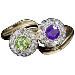 Antique Edwardian Suffragette Amethyst Peridot Twist Ring Dated London, 1910