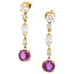 Diamond and Pink Sapphire 18 Karat Gold Hanging Earrings