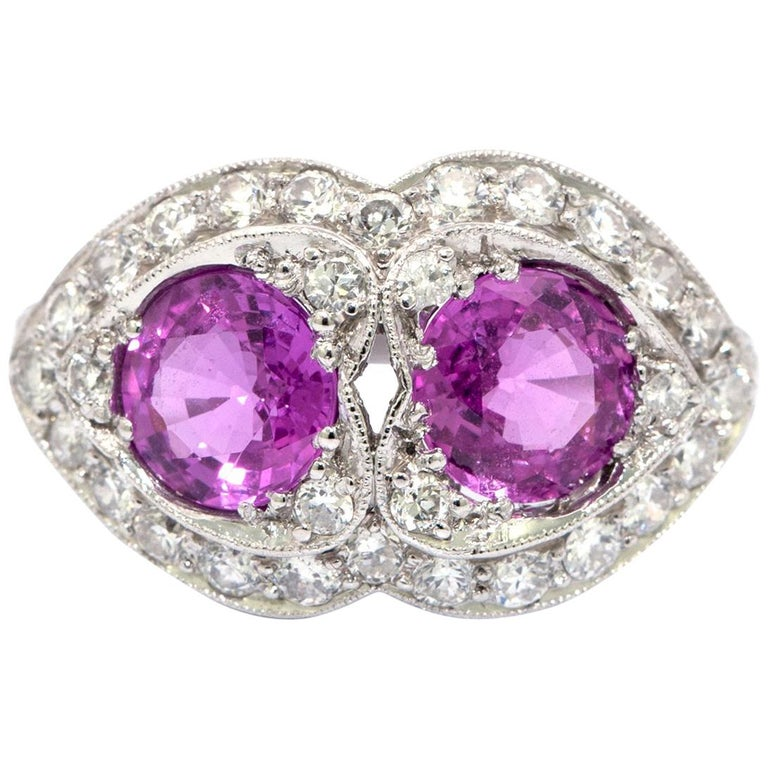 Pink Sapphire and Diamond Art Deco Style Ring For Sale