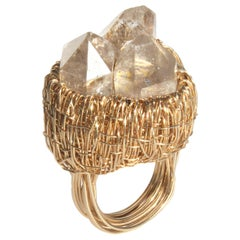 Triple Rock Crystals in Gold Statement Cocktail Ring by Sheila Westera London