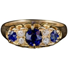 Antique Victorian Sapphire Diamond Gypsy Ring 18 Carat Gold Dated 1898