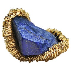 Raw AA Lapis Lazuli in Gold Statement Cocktail Ring by Sheila Westera London