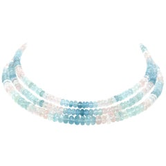 300 Carat Aquamarine and Pink Topaz 3 Strand Necklace