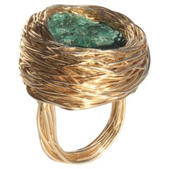 Raw Green Malachite/Azurite in Gold Statement Cocktail Ring by Sheila Westera
