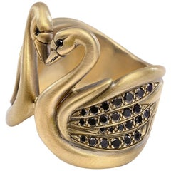 Wendy Brandes Black Diamond 18K Yellow Gold Swan Heart Ring for Valentine's Day