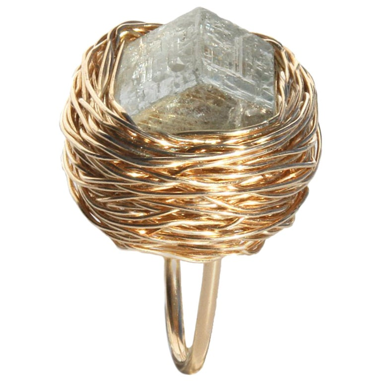 Raw Aquamarine in Gold Statement Cocktail Ring by Sheila Westera London For Sale
