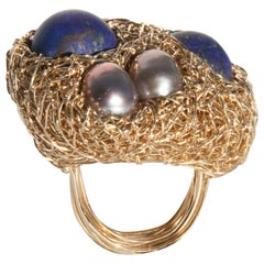 Lapis Lazuli and Freshwater Pearls in Gold Statement Cocktail Ring by SWL