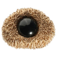 Black Agate Orb in Yellow Gold Statement Cocktail Ring by Sheila Westera London