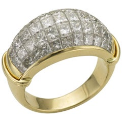 Princess Cut Diamonds Serti Mysterieux Yellow Gold Pave Band Dome Cocktail Ring