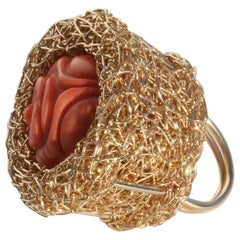 Sheila Westera Vintage Rote Koralle Gold Cocktail-Ring