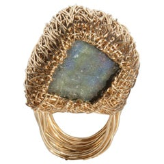 Labradorite in Gold Statement Cocktail Ring by Sheila Westera London