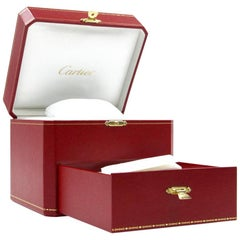 Cartier Red Watch and Jewelry Storage Box with Drawer Compartments