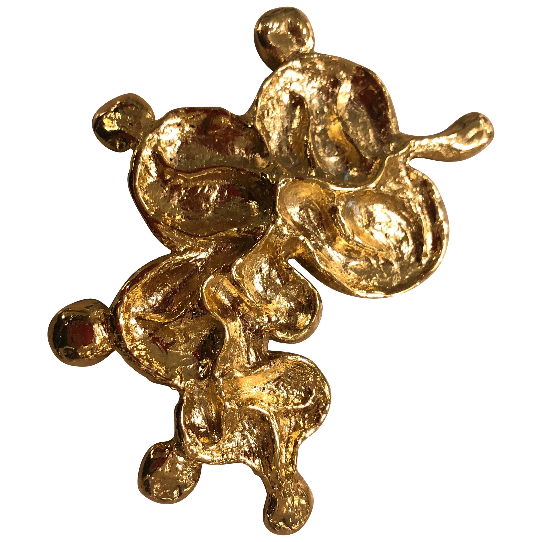 """Gold-Plated Bronze """"LEAF"""" Brooch by Franck Evennou, France, 2018"""