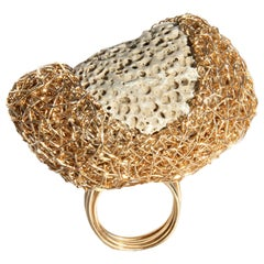 Grey Swiss Stone in Gold Statement Cocktail Ring by Sheila Westera London