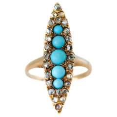 Antique Marquise Turquoise and Rose-Cut Diamond 9 Karat Gold Ring