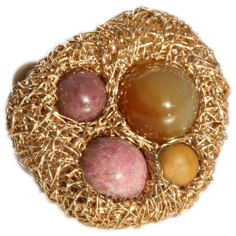 Rose Quartz, Mookaite, Agate and Jade in Gold Statement Cocktail Ring by SWL For Sale