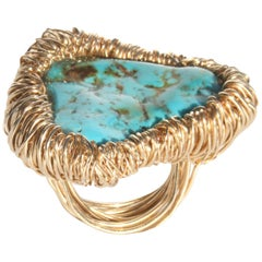 Large Polished Turquoise woven Gold Statement Cocktail Ring by Sheila Westera